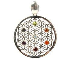 Collier pendentif Fleur de Vie et ses 7 pierres Chakras