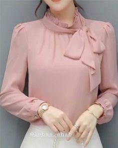 Elegant temperament lady round neck flare sleeve openwork mesh ladies blouse - Stand Color Bowknot Bowtie Sash Ornament Solid Color Long Sleeve Women& Blouse Best Picture F - Long Blouse Outfit, Bluse Outfit, Hijab Fashion, Korean Fashion, Fashion Dresses, Blouse Styles, Blouse Designs, Ärmelloser Pullover, Sleeves Designs For Dresses