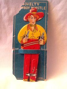 Vintage Antique WESTERN Cowgirl Cowboy TIN Litho Whistle Toy 1950s Japan  gun WOW 54f4ac3bcb79