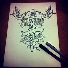 Swallows / sword / heart - sketch #2 / old school tattoo illustration