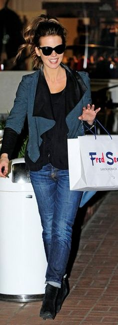 48e1a0f7f30a7a Sunglasses- Oliver Goldsmith Jeans – R13 Jacket – Helmut Lang Underworld  Kate Beckinsale, Cuffed