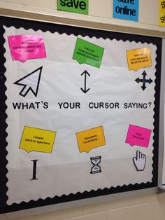 technology lessons - What's your cursor saying bulletin board for a technology classroom or computer lab Teaches the basics and provides a reminder! Elementary Computer Lab, Computer Lab Lessons, Computer Lab Classroom, Computer Literacy, Computer Teacher, Teaching Computers, School Computers, Computer Basics, Technology Lessons
