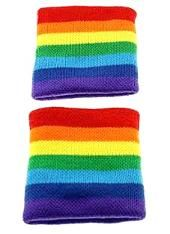 Rainbow striped elasticated wristbands for adults by Zac's Alter Ego. Ideal for an 80s workout look.