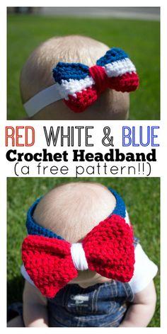 So ca-ute! http://www.sugarbeecrafts.com/2016/06/red-white-blue-crochet-headband.html #DIY #crochet #handmade