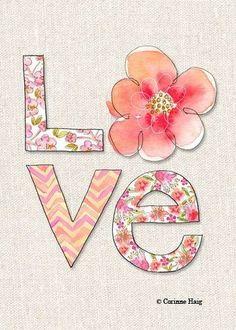 "Archival Art Print of Original Illustration or ""Floral Love-Pink"" Cute Wallpapers, Wallpaper Backgrounds, Iphone Wallpaper, Art Mots, Decoupage, Illustration Mode, Grafik Design, All You Need Is Love, Love Heart"