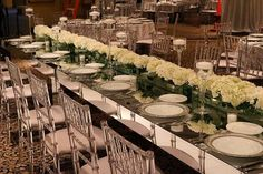Love how our crystal Chiavari chairs look against this mirrored table!