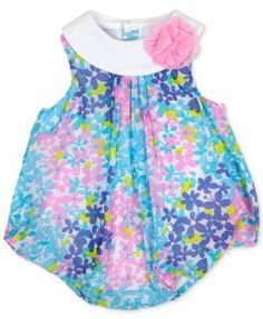 Baby Essentials Floral-Print Bubble Romper, Baby Girls (0-24 months) $7.99 Sunny florals lend color to this endlessly cute bubble romper from Baby Essentials.
