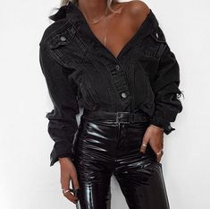 edgy fall outfit for young women, black denim jacket, black faux leather pants for a chic fall outfit idea for women #dressesforwomen