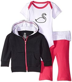 Baby Girls' 3 Piece Jacket, Bodysuit and Pant...