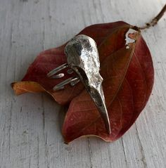 Raven Skull Ring (Sterling Silver) by Chase and Scout. Curious handmade jewelry for men and women, based in Austin Texas.