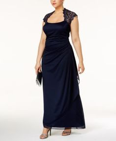 Xscape Embellished Side Pleat Gown Plus Size