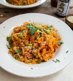 This is so good.  My husband loved it too. Sweet Potato Pad Thai with Sriracha Sauce Recipe - RecipeChart.com