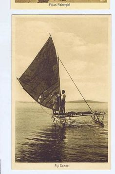 Fiji Culture, Aboriginal Culture, Fiji Islands, Historical Pictures, Old Postcards, Catamaran, South Pacific, Island Life, Canoe