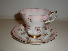 Royal Albert England Cup Saucer Shell Pink Pink and Gold Tone Florals | eBay