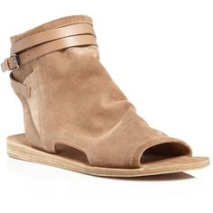 Vince Thalia Flat Open Toe Sandals (£236) ❤ liked on Polyvore featuring shoes, sandals, sand, strappy sandals, strap sandals, open toe sandals, flat shoes and ankle wrap sandals