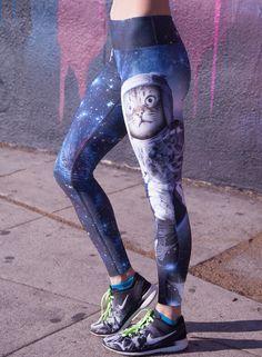 Women's Cat Printed Skinny Fit Dri-fit Sports Leggings