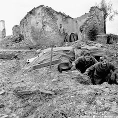Ortona - Sergeant F. MacDougal and Sergeant-Major J. Ferguson, Field Regiment, Royal Canadian Artillery (R.), emerging from their dugout north of Ortona, Italy. Canadian Horse, Canadian Soldiers, Canadian Army, Canadian History, Royal Canadian Navy, Ghost Images, Military Photos, Armed Forces, World War Two