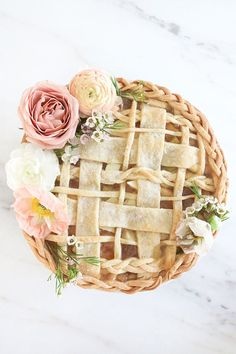 Seasonal pies are definitely a fall favorite for dessert tables. Make your own in apple, pumpkin, or pecan. This lattice top decorated with flowers proves how pretty a homemade pie can be.