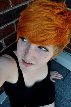 Electric Tiger Lily look almost like this cutie's natural colour, making it the perfect MHBB shade for all redhead lovelies! #manicpanic #electrictigerlily #orangehair #myhairbutbetter #mhbb #dyedhair