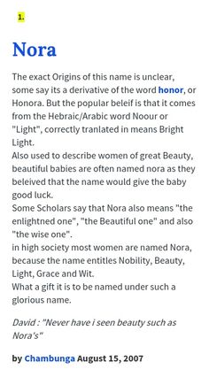 """The thought that is is derivative from the word """"honor"""" is interesting because women were looked at as honorable women but once it is discovered that she has put her family in this huge debt that meaning seems to go out the window. I believe by the end of the play when Nora leaves the meaning """"enlightened one"""" really has a powerful meaning. She has become enlightened to her purpose to be her own person and seems to be enlightened by he new found independence."""