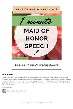 Are you afraid of public speaking, but need to give a wedding speech? Let me help you write the perfect maid of honor speech that's short enough not to keep you at the microphone too long, but long enough to make your loved on feel special. My name is Britney, I'm a professional wedding speech writer and I've written over 200 personalized wedding speeches! Purchase one of my Etsy wedding speech listings and I'll write your perfect maid of honor speech today! Maid Of Honor Speech, Best Man Speech, Psychology Degree, Professional Writing, Wedding Speeches, Public Speaking, Industrial Wedding, Wedding Thank You, Stress Free