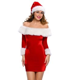 9091048d86c Buy Two Pieces Long Sleeves Off-the-shoulder Santa Costume Dress and Hat Set