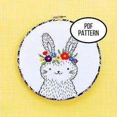 Hand Embroidery PDF Pattern. Floral Crown Bunny Design Digital | Etsy Cute Embroidery Patterns, Embroidery Stitches Tutorial, Geometric Embroidery, Modern Embroidery, Whimsical Nursery, Nursery Decor, Stuffed Animal Patterns, Stuffed Animals, Floral Crown
