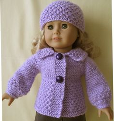 Lavender Cardigan & Hat handknitted set for AG by KNITnPLAY, $19.99