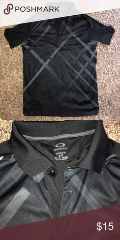 Men's LRG Okaley Collard Shirt Black with dark/light grey abstract lines. **missing bottom 2 buttons shown in 2nd picture** Oakley Tops Tees - Short Sleeve