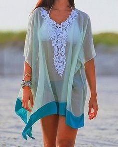 Sexy Scoop Neck Half Sleeve See-Through Laciness Women's Cover-Up Swimwear   RoseGal.com Mobile