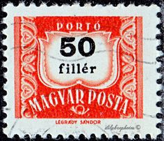 Hungary.  1st Hungarian postage due stamp, 50th anniv.  Scott J240 D13, Issued  1953, Photo., Numeral Typo. in Black. 50. /ldb.