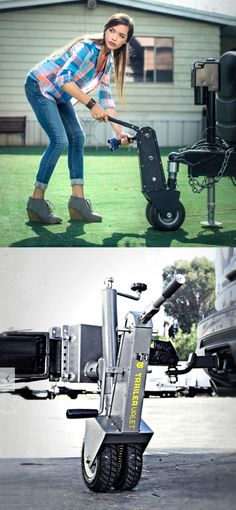 Trailer Valet #TowDolly. Quickly and easily hitch up and or move any trailer by yourself! This totally unique item is a huge labor saving device. #TrailerTowing #TrailerTowDolly #TrailerTowingAccessories #TrailerTowingTips