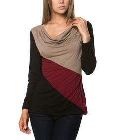 Burgundy & Khaki Color Block Drape Top