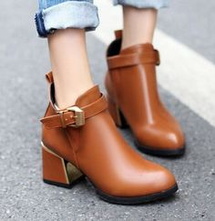 Women new fashion spring autumn british style vintage 6.5cm high thick heels martin buckle shoes large plus size 40-43