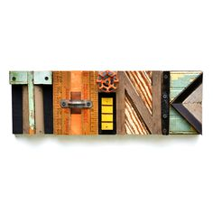 typography THINK wood collage modern vintage sign letters  ORIGINAL ART by Elizabeth Rosen