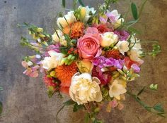 Pink, Orange, Purple & Green Wedding Flowers