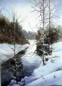 Winter Communication watercolor, x x Anders Andersson After Snowfall watercolor, x x Aud Rye. Watercolor Trees, Watercolor Landscape, Landscape Art, Landscape Paintings, Watercolor Paintings, Watercolors, Painting Art, Winter Szenen, Art Aquarelle