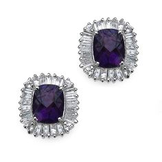 6.16 CT TW Amethyst and White Topaz Stud Pierced Earrings in Sterling Silver