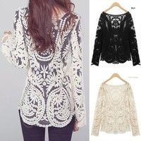 Wish | Women Sexy Semi Sheer Long Sleeves Embroidery Floral Lace Crochet Tee T-Shirt Top Blouse