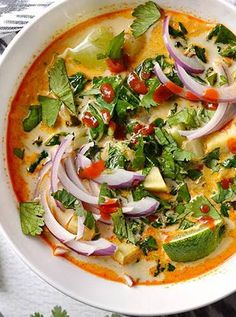 Thai curry vegetable soup. Get this and more delicious Thai inspired recipes here.