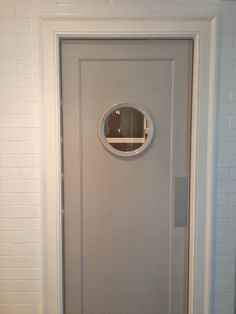 grey swinging door