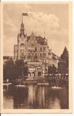 Königsberg Pr. Restaurant Schloßgarten 1927 | This building occupied a prime spot near the head of the schlossteich (castle pond, part of the defensive moat system's water control, and usually used to raise carp for food.) The pond's perimeter was turned into an urban park space with a promenade and recreational boats. Jeff