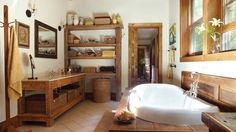 Old Fashioned eclectic bathroom.