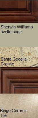 Our finalized kitchen color scheme. Mocha cabinets, Santa Cecilia granite, Sherwin Williams Svelte Sage paint and a generic beige ceramic tile floor.