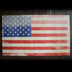 Rustic American Flag artwork on wood. Show your patriotic spirit with a distressed American flag. Add your family name or any text for FREE!