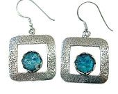 Unique Roman Glass  Hammered Design    Sterling Silver Earrings    Roman Glass Earrings    Large Square Design