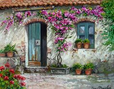For Love of Art: Creativity of the artist Francesco Mangialardi. House Painting, Painting On Wood, Landscape Art, Landscape Paintings, Fond Studio Photo, Cottage Art, Garden Doors, Watercolor Paintings, Art Drawings