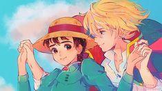 Studio Ghibli Art, Studio Ghibli Movies, Hayao Miyazaki, Girls Anime, Anime Guys, Howl And Sophie, Chibi, Howls Moving Castle, Art Reference Poses