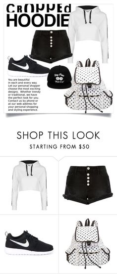 """""""sporty spice"""" by vanessashark ❤ liked on Polyvore featuring Topshop, River Island, NIKE, LeSportsac and OBEY Clothing"""