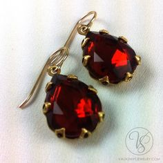 Vintage crystal drop earrings in Madeira topaz Crystal Drop, Topaz, Drop Earrings, Personalized Items, Crystals, Vintage, Jewelry, Wood, Jewlery